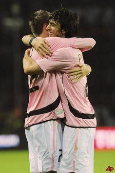 men's soccer hugging | Palermo's Josip Ilicic, of Slovenia, left, hugs teammate after Javier ...