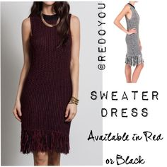 """New! Sans Souci Sweater Dress With Fringe  Gorgeous sleeveless sweater dress with fringed hem at the bottom...unique and amazing, you'll definitely stand out from the crowd! (1) red/black available & (1) white/black in this size Size S Length: 30"""" no fringe; 35"""" with fringe Armpit to Armpit: 16"""" ‼️FINAL PRICE UNLESS BUNDLED‼️ ❌PLS DON'T BUY THIS POST - TAG ME & I WILL CREATE ONE FOR YOU❌ Sans Souci Dresses Mini"""