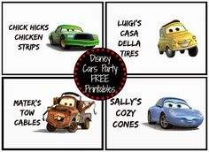 Disney Cars Birthday Party Food Ideas FREE Printables