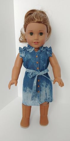 Fits like American girl doll clothes. Jean dress with button closure and tie belt American Girl Outfits, Ropa American Girl, American Girl Doll Pictures, My American Girl Doll, American Girl Crafts, African American Dolls, American Doll Clothes, Ag Doll Clothes, Diy Clothes