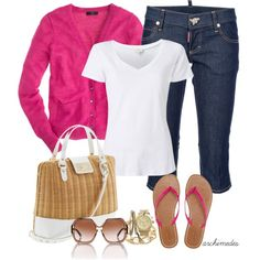 Spring Outfit: bright pink sweater paired with white tee, jeans, plus white & gold accessories