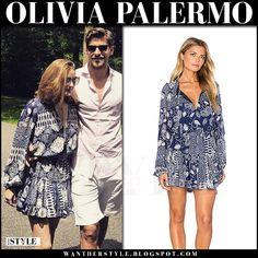 Olivia Palermo in blue printed mini dress