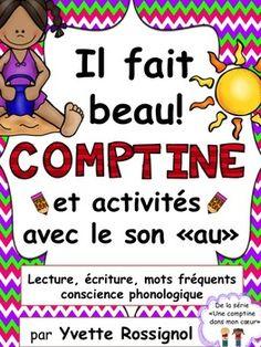 Comptine et activités remplies de mots fréquents et de structures simples. Parfait pour le premier cycle et pour divers programmes de français langue seconde!
