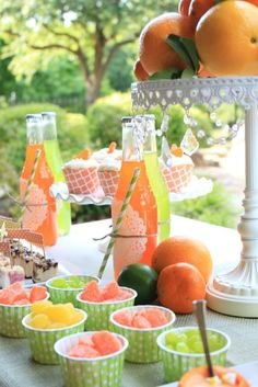 Mariah L's Dinner Party / Citrus - Photo Gallery at Catch My Party Orange Party, Peach Party, Green Party, I Party, Party Time, Party Ideas, Fruit Party, Party Fotos, Happy Summer