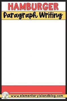 This Hamburger Paragraph Writing Packet and Graphic Organizer is a fun activity for first, second, and third grade students. A great way to introduce paragraph writing, this will hook 1st, 2nd, Grade 2, Third Grade, Hands On Activities, Fun Activities, Hamburger Paragraph, English Language, Language Arts, Elementary Education Activities, Teacher Lesson Plans