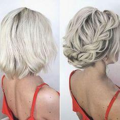 Short Bridal Hair, Short Braids, Braids For Short Hair, Short Hair Styles, Hair Wedding, Short Undercut, Curly Hair, Thin Hair, Curly Short