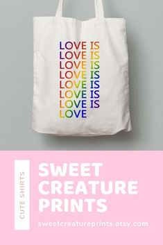 Love Is Love. Show off your pride with this lgbt tote bag! Click through to view more styles. Vegan Fashion, Ethical Fashion, New Mommy Gifts, Pride Outfit, Etsy Business, Etsy Crafts, Gay Pride, Crafts To Sell, Things To Buy