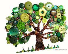 11 x 14 Schaltfläche Lebensbaum Button Kunst mit Swarovski Strasssteine Button Eiche