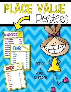 Place Value Posters for Kindergarten and FIrst Grade. Ones, tens and hundred plus a header. $
