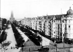 Berlin-Kreuzberg: Fontanepromenade with Melanchthon-Kirche in the distance. 1911.