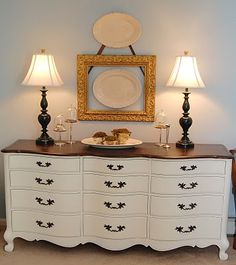 I have this exact dresser and I can't decide how to refinish it. I was thinking all paint until I saw this picture with a wood-finish on the top.....