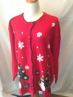 VICTORIA JONES red Snowflake Snowman UGLY XMAS SWEATER 3X