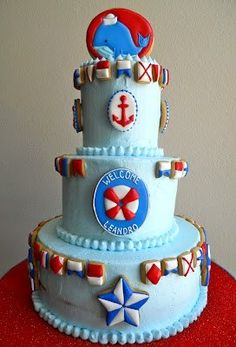 Nautical Baby Shower Cake @Kara Morehouse Elizabeth Angelo for that honeymoon baby!