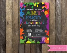 PRINTABLE Chalkboard Rainbow Art Party Invitation Paint Party Invitation Rainbow Invite Paint Splatter Girls Boys Birthday Party 4x6 or 5x7 by PinkStarfishDesigns on Etsy https://www.etsy.com/listing/245107265/printable-chalkboard-rainbow-art-party