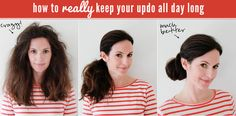 How to REALLY keep your updo all day long...I don't have long hair yet, but this makes me feel better about how my hair looks when I wake up.