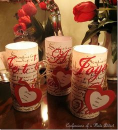 Easy French Script Valentine Candles of a plate addict My Funny Valentine, Valentine Picture, Valentine Day Crafts, Valentine Decorations, Happy Valentines Day, Valentine Ideas, Diy Candle Holders, Diy Candles, Pillar Candles