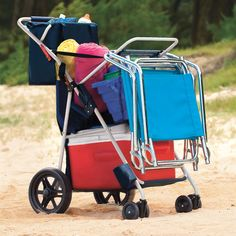 Ahhh no more million trips back and forth to the car. Wonder Wheeler Deluxe All Terrain Cart. The easy way to cart your family's gear. Why put your back at risk this summer? Or make multiple trips unloading the car? Our all-terrain cart makes it a cinch to transport up to 100 lbs. of gear—even on sand or stairs! It holds a large cooler and up to four beach chairs, and includes a roomy storage tote for towels, toys, and more.