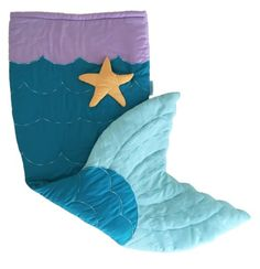 Quilted & Embroidered Mermaid Tail Blanket (Ages 3 - 12) Sleeping Bag Sack Nap Mat with Pocket & Fleece Lining