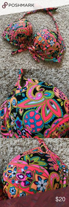 VS 36D Bikini Top neon floral boho retro hippie Padded underwire halter bikini top with neon floral retro print from Victoria's Secret. Size 36D. Gently worn, no notable flaws. Top only, no bottoms included. Victoria's Secret Swim Bikinis