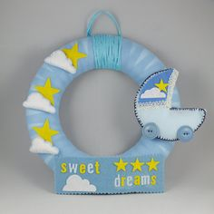 Sweet dreams, #birth #wreath, #coroncina #nascita, #maschio, baby #boy, #gift, #regalo, #nursery by TOYOdecorations on Etsy
