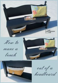 Pottery Barn Blue Headboard Bench made from a twin bunk bed tutorial.   I want this!