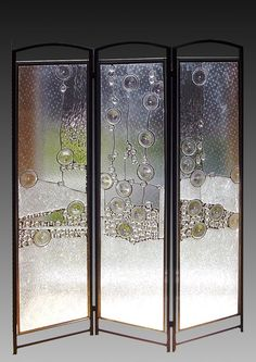 Beautiful hand-made glass room divider ~ (RAIN | L-A-Glass - Glass on ArtFire) ~ #RealEstateMPL #RoomDividers #StainedGlass