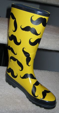 Create your own rain boots with wall decals! Not just for walls, our decals can transform ordinary items such as your plain rain boots! Check out our mustache boots! Cute Rain Boots, Rubber Rain Boots, Custom Wall Decals, Vinyl Decals, Rain Gear, Silhouette Cameo Projects, Cricut Creations, Autumn Inspiration, Boots