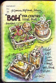 Journal, 31 May 2009 (Colour) by Liyin the Creative-Extraordinaire Sketch Journal, Artist Journal, Art Journal Pages, Art Journals, Travel Journals, Art And Illustration, Food Illustrations, Sketchbook Inspiration, Art Sketchbook