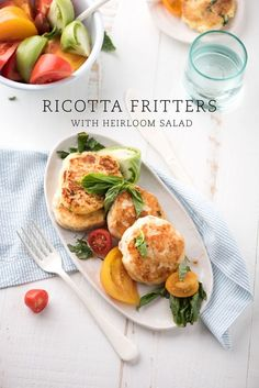 Ricotta fritters with heirloom salad.