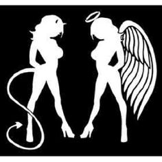 next tattoo is a realistic sexy angel and devil