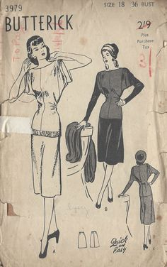 1940s Vintage Sewing Pattern B36 TWO-PIECE DRESS (R847) #Butterick