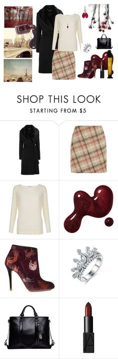 """""""Sweet autumn"""" by alicecure ❤ liked on Polyvore featuring Chanel, Karen Millen, Fenn Wright Manson, Camilla Elphick, NARS Cosmetics, black, plaid, beige, autumn and bordeaux"""
