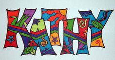 Kathy name art by shanblan Name Art Projects, School Art Projects, Graffiti Art, Name Design Art, Art Folder, Ecole Art, Middle School Art, Autumn Art, Art Classroom