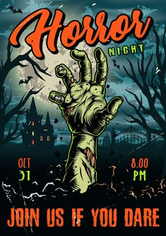 Colorful Halloween vector poster with a zombie hand.