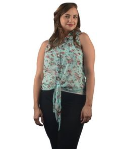 New-FLORAL-MINT-Sleeveless-Western-BLOUSE-Top-Shirt-Womens-1x-2x-3x-Plus-Size