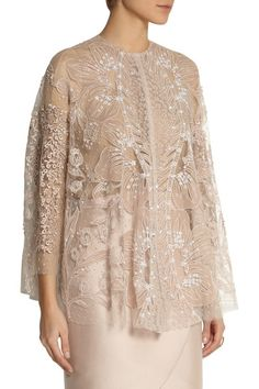 Antique-rose Swiss-dot tulle Floral embroidery and appliqués, peach and white bead and sequin embellishment, camisole to line Button fastening at neck 58% polyamide, 42% silk Specialist clean