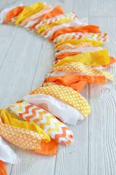Fall Candy - Shabby Chic Rag Tie Banner, Bunting, Photography, Garland, Party Decor, Birthday, Nursery, Wedding, Ribbon, Halloween, Fall on Etsy, $25.00
