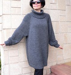Oversize Women Sweater Alpaca Grey Wool Cozy Chunky by MKknitting