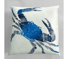 Big Crab Pillow - Indigo- (White Linen) #PrintedPillowsOnline