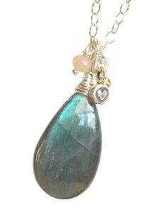 Northern Lights Elegance Necklace! #labradoritebrio #gemstonenecklace (SOLD)