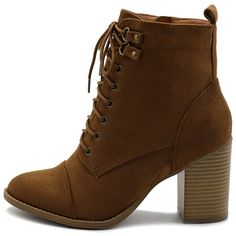 Women's Shoe Faux Suede Lace Up Stacked High Heel Ankle Boots - Tan - - Women's Shoes, Boots, Ankle & Bootie & Bootie Thigh High Boots, High Heel Boots, Over The Knee Boots, High Heels, Tan Boots, Brown Boots, Brown Heeled Boots, Combat Boots, Toddler Cowboy Boots