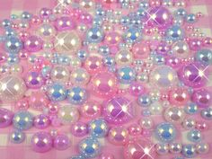 100pcs AB Sorbet Flat Back Pearl Mix inc Giant by CandyandCrystal, £2.25