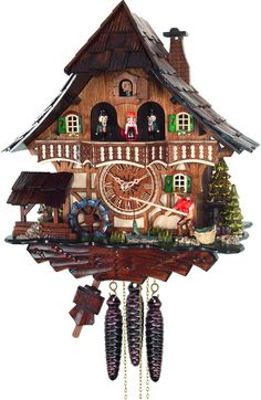 River City Clocks MD416-13 One Day Musical Cuckoo Clock Cottage - Fisherman Raises Pole and Moving Waterwheel