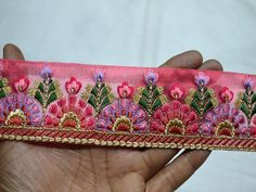 Wholesale Coral Red Crafting Decorative Indian Trim by 9 yard Embroidered Saree Border Ribbon Fabric trims and embellishment Sari Border Puoi acquistare dalla nostra App What no. Sewing Lace, Sewing Trim, Ribbon Sewing, Floral Embroidery, Hand Embroidery, Embroidery Dress, Indian Embroidery, Kids Summer Dresses, Fashion Tape