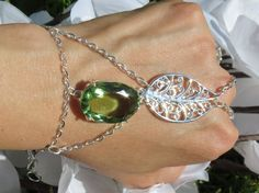 Nature Slave Bracelet Ring Bracelet Green by TheMysticalOasisGlow, $20.00