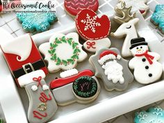 Santa cookie on the top left Christmas Biscuits, Christmas Sugar Cookies, Christmas Sweets, Holiday Cookies, Decorated Christmas Cookies, Decorated Cookies, Santa Cookies, Iced Cookies, Fun Cookies