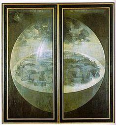 Jardim das Delícias O tríptico fechado: A Criação do mundo, óleo sobre tábua, 220 x 195 cm. - Caminhos & Labirintos