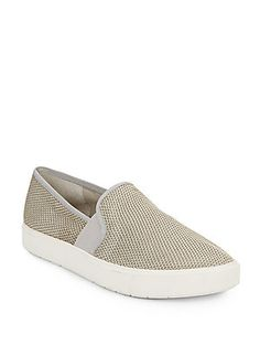 Vince Blair Woven Canvas Slip-On Sneakers - Oyster - Size