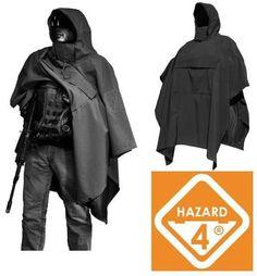 Mens Hazard 4 PonchoVilla Tactical Military Rain Poncho Black Hooded Heavy Duty #Hazard4