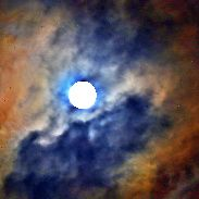 Supermoon Surrounded By Cloud Iridescence